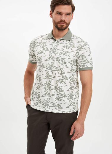 DeFacto Desenli Polo Yaka T-Shirt Beyaz